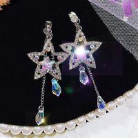 Crystal Long Chain Earrings Star Round Tassel Dangle Earring Women Jewelry Great