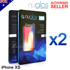 2x Genuine Nuglas 9h Tempered Glass Screen Protector for iPhone X