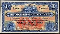 1942 THE UNION BANK OF SCOTLAND £1 BANKNOTE * R/18 444059 * VF+ *