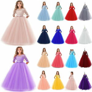 Flower Girl Princess Dresses Party Wedding Bridesmaid Formal Gown Kid Maxi Dress