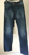 "Mish Mash ~ dark blue factory worn straight leg button fly jeans ~ 30""W x 32""L"