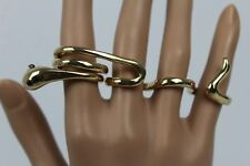 Women Gold Metal Wrap Around Fancy 4 Finger Ring Sexy Hip Hop Jewelry Snake Band
