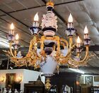 Large Dresden Style Porcelain and Bronze 8 Light Chandelier w/ Cherubs and Doves