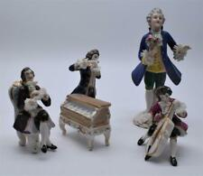 4 no. Vintage Dresden Porcelain Lace Figurines - Musicians and Dandy