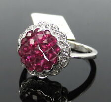 Invisible Set 1.74ct French Cut Ruby & 0.08ct Diamond 18K White Gold Ring Size 7