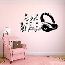 Personalised Music Headphones Boys/Girls Wall Art Vinyl Sticker Bedroom  Decor