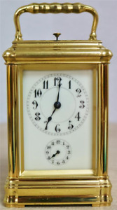 Rare Antique French Grande Sonnerie Gilt Brass Repeater Gorge Carriage Clock