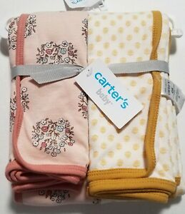 NEW Baby Girl Carters Mustard Geometric&Rose Floral Cotton SWADDLE BLANKET Set
