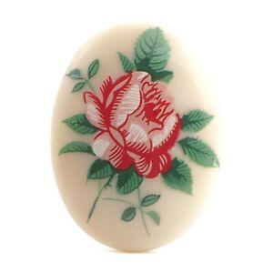 Vintage Limoges style oval rose floral porcelain cabochon 40x30mm