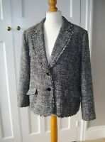 BHS Smart Fitted Black & White Blazer Jacket Boucle Frayed Monochrome Size 20