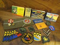 Lot of Military Army Navy Airforce books patches pins & Garrison Hat.