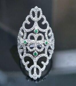 Echtschmuck 750 (18K) Weißgold Ring 1,66 ct natürliche Brillant Diamant Smaragd