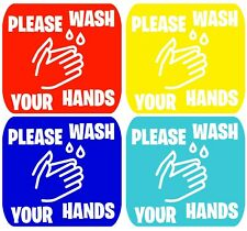 Set of 5 Please Wash your hands vinyl sign wall safety sticker