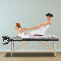 2 Section Massage Table Spa Facial Bed Adjustable Foldable Black