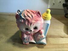 Vintage Japan  Rubens Ceramic baby cat planter with bottle