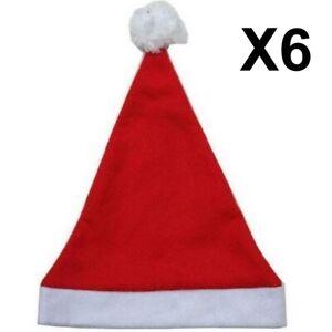 Lot De 6 Bonnets Père Noël Classique Rouge/Blanc (Taille ENFANT)