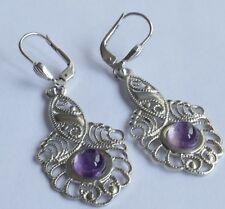 Ohrringe 2 lilafarbene Cabochons 925 Silber rhodiniert Vintage 70er earrings