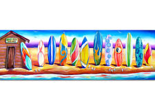 DEBORAH BROUGHTON ART Stretched Surf Canvas Surfboard Beach Print: Choose a size