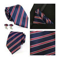 Tie Pocket Square Cufflinks Set Navy Blue and Red Striped Handmade 100% Silk