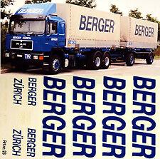 Man Berger Zurich Suiza (Ch) 1:87 Adhesivo Pegatina Camión