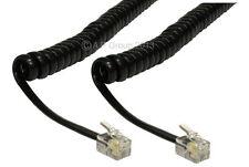 Negro Rj10 teléfono de reemplazo Cable en espiral Auricular De Teléfono 5m Plomo rizado Cable