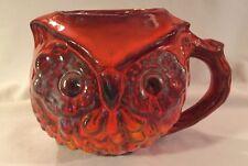 Pacific Stoneware Owl Orange Yellow Glazed Pottery Mug Cup 1969 Vintage USA