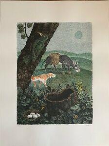 Enzo Bellini serigrafia colorata a mano l'asino e il cane  70x50 firmata 1987