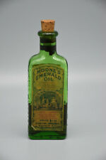 Vintage Moore's Emerald Oil Bottle, Rochester NY, 1/3 Full, label states 1925