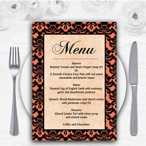 Coral Black Damask & Diamond Personalised Wedding Menu Cards