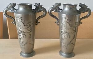 SIGNED PAIR of antique CHINESE swatow PEWTER DRAGON & BIRD VASES