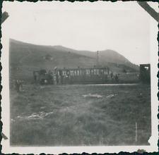 France, Col de Voza, le Train en Montagne , au fond le Prarion   Vintage silver