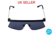 Black Futuristic Ski Shield Retro 80s style Sunglasses Mens Ladies 80s Gaga