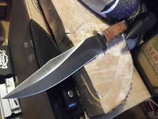 "BOKER MAGNUM 12 3/4"" GIANT BOWIE KNIFE STACKED LEATHER HANDLE LEATHER SHEATH WOW"