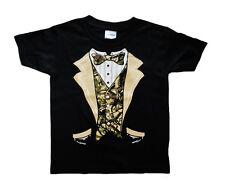 Kids youth toddler size Camo Tuxedo design funny tee shirt tux t-shirt