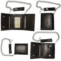 Men's Genuine Leather Trifold Chain wallet; Motorcycle, Trucker, Biker wallet #1