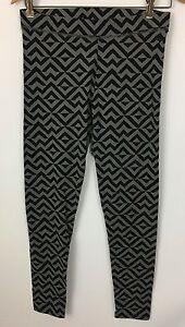 Victoria's Secret Pink Black Gray Geometric Chevron Stripe Leggings Size L