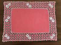 Vintage Hand Embroidered Linen TABLE CENTRE TRAY CLOTH 15X11 INCHES Salmon Pink