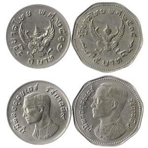 Set 2 Coins Thailand 1 5 Baht 1972 - 1974