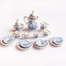 15pcs Blue Floral Porcelain Tea Set 1/12 Dollhouse Miniatures Accessories