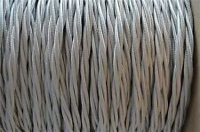 1 METER SILVER SILK COVERED 3 CORE LIGHT FLEX WIRE BRAIDED TWISTED LAMP CORD B9