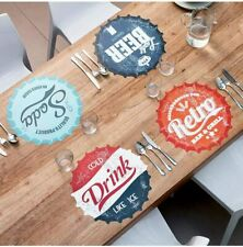 SET OF 4 Bottle Cap Retro Design Placemats  Soda Beer Table Place Mats -38 cms