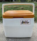 Vintage Coleman Lil Oscar Cooler Orange Lid 5272 Made In USA Locking Handle