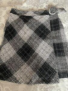 NEXT NWT UK 12 Tall EUR 40 Black Silver Grey Check Wool Blend Wrap Skirt RRP £28