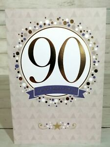 90th Happy Birthday Card With Gold Lettering