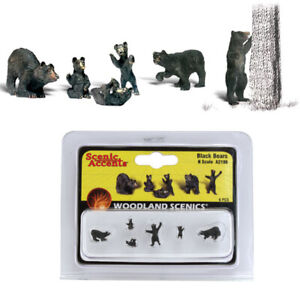Woodland Scenics Accents A2186 Figures - Black Bears - Pkg (6) N Scale
