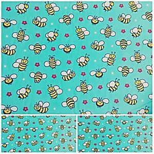Polycotton Fabric JADE HONEY BEES WITH FLOWERS Per Metre Craft Material