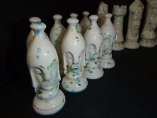 Vtg Mid Century Ceramic Speckle Glaze Duncan Chess Set Turquoise Green 32 Pcs