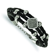Crystal Leather w/.75in ext. Bracele Chisel Stainless Steel Polished w/Druzy and