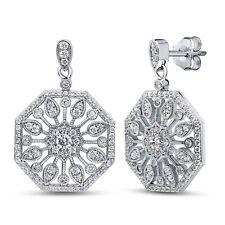 BERRICLE Sterling Silver Round CZ Halo Flower Art Deco Dangle Drop Earrings