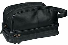 Dwellbee Classic Leather Toiletry Bag and Dopp Kit (French Morocco Leather,